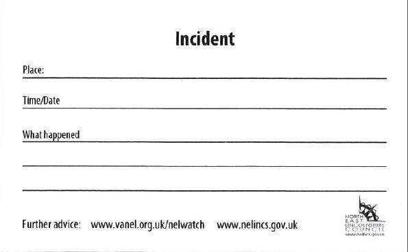 Incident card reverse